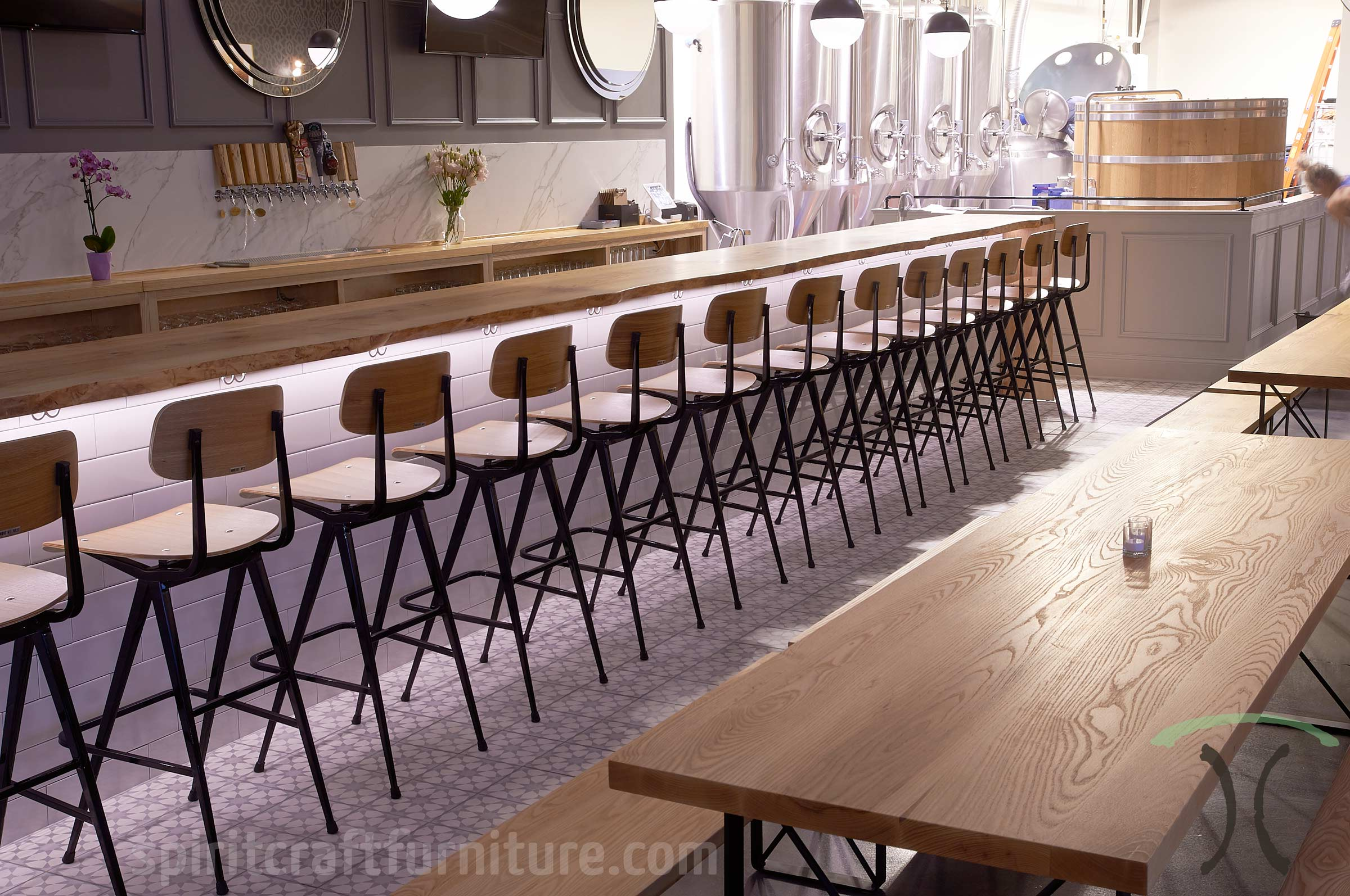 Custom Made Solid Wood Table Tops For Brew Pub Restaurant, In Kiln Dried  Ash Hardwoods