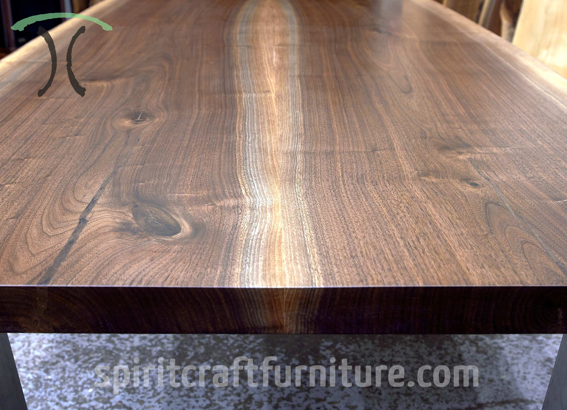 Solid Walnut Live Edge Slab Dining Table With Stainless Legs For  Massechusetts Client By Spiritcraft Interior