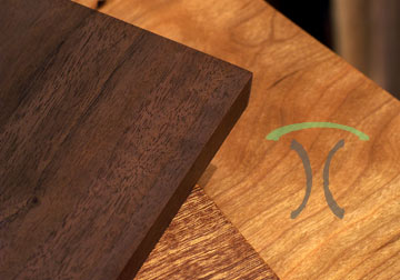 Custom made Sapele Mahogany, Walnut and Cherry table tops for restaurant dining tables, desk tops and kitchen islands.