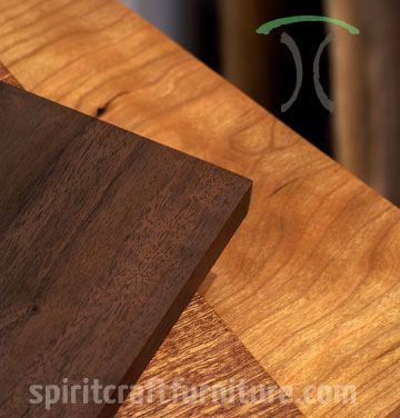 Solid wood table tops in Walnut, Cherrry and Sapele hardwoods for restaurant, dining tables and desk tops by Spiritcraft Furniture in East Dundee, IL