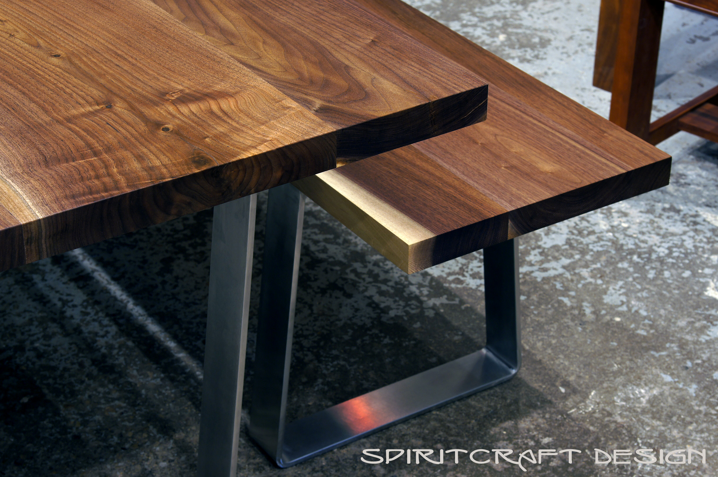 Custom Made Black Walnut Dining Table and Bench with Bent Stainless Steel  Legs for Chicago restaurant
